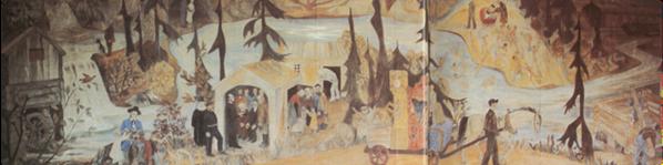 Utsnitt av Reidar Aulies store veggmaleri som henger i spiserommet i Fiskars i den gamle redskapsfabrikken