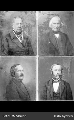 Avfotograferinger av Nydalen Compagnies grunnleggere. Øverst til venstre Fogd Ole Gjerdrum, øverst til høyre grosserer Hans Gulbranson, nederst til venstre grosserer Adam Hiorth, og nederst til høyre ingeniør Oluf N. Roll.Foto: Oslo Byarkiv<br>
