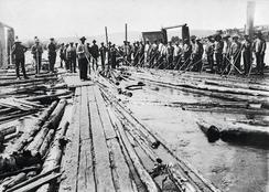 Lensearbeidere ved sorteringsstasjonen kalt Hvalsjunken ved Fetsund lenser i 1915.Foto: Akershusmuseet<br>