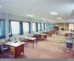 Interiør fra kontoret til Staubo Elektromaskin, ca. 1971Foto: Leif Ørnelund / Olso Museum<br>