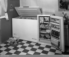 Aanonsen fryseboks og kjøleskap i 1963Foto: Rude, Oslo Museum<br>