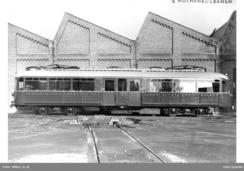 Sporvogn fra Skabo Jernbanevognfabrikk. Vogn 113. HolmenkollbanenFoto: Wilse / Oslo Byarkiv<br>