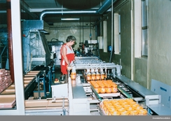 Arbeider Åse Frydendal i Hapå-fabrikken ca 1990