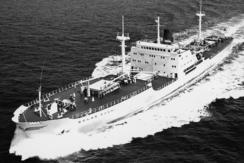 Bnr. 74, M/S «Golar Ragni», var oppkalt etter fru Ragni Berg. Dette vitner om gode bånd mellom rederi og verftseier.Foto: Made in Drammen<br>