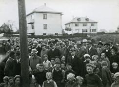 Stor festivitas i Haugesund da Rabinowitz la ned grunnesteinen til det nye toppmoredne industribygget til CondorFoto: Haugalandmuseene<br>