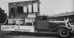 Rullende reklamestand for Delta-produkter i 1930-åreneFoto: Made in Drammen<br>