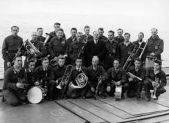 Slippens eget musikkorps ble startet i 1949, og spilte ved stabelavløpninger og dåpsseremonier.Foto: Made in Drammen<br>