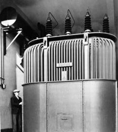 I 1939 leverte National denne transformatoren på 14 000 kVA til Trondhjems elektrisitetsverk.Foto: Made in Drammen<br>