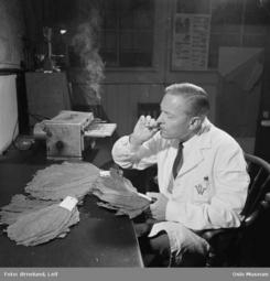 Tobakkskontroll på Tiedemanns, Bislet, 1957Foto: Leif Ørnelund / Oslo Museum<br>