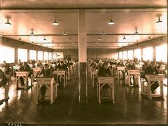 Condor-salen brukt som eksamenslokale i 1939. Foto: Haugalandmuseene<br>