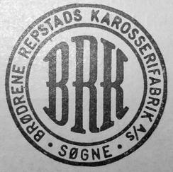 Logo til Brødrene Repstads Karosserifabrikk A/SFoto: Søgneinfo.no<br>
