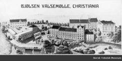 Brevhode fra 1909 som gir et perspektivforvrengt med riktig inntrykk av anlegget.