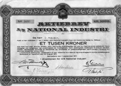 Aksjebrev fra National i 1917