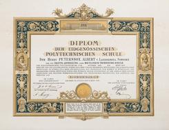 Diplom fra Politechnischen Schule, Sveits, 1893Foto: NVIM<br>