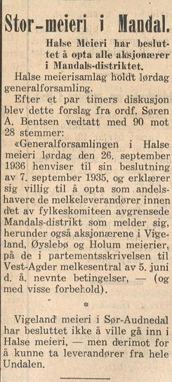 Foto: Avisen Agder 2. oktober 1936<br>