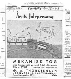 Annonse i Aftenposten, 1948Foto: Norsk Jernbanemuseum<br>