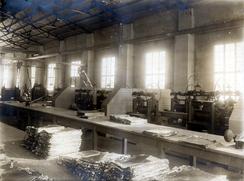 Foilvalseverket i Sveisverkets mekaniske verksted. Foto: Aluminiummuseet / Vestfoldmuseene<br>