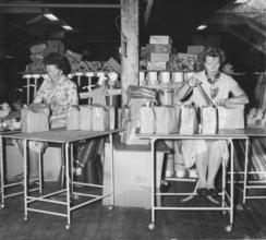 Pakking av gassmasker på loftet på Fram - Helly Hansen på MelbuFoto: Moss by- og industrimuseum <br>