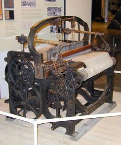 Vevstol fra Hjula, laget av det engelske firmaet Parr, Curtis & Medley i 1858. Vevstolen er utstilt på Norsk Teknisk Museum. NTM 2805