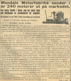 Foto: Mandals Avis 23. mars 1935<br>
