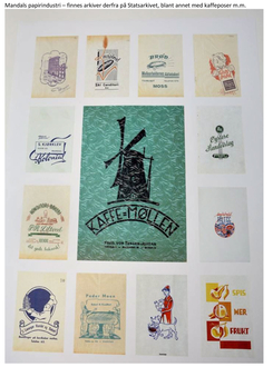 Foto: Collage av diverse papirposer fra Mandals papirindustri<br>