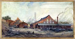 Jens Wang malte Vulkan til Jubileumsutstillingen på Frogner i 1914, Foto: NTM