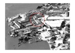 Malmø, industriområdet i Mandal, Saanum Sæbefabrik markert med rød ring.Foto: Mandal Bibliotek / www.dbva.no<br>