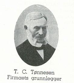 T.C. Tønnesen, grunnlegger av Walhalla såpefabrikk i 1859.Foto: Scan fra Det Norske Næringsliv fylkesleksikon Vest-Agder<br>