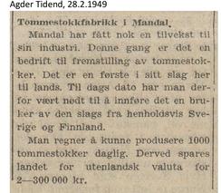 Foto: Agder Tidende 28.2 1949<br>