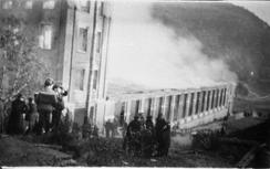 Høie fabrikker i brann i 1919.Foto: Ukjent / Vennesla bibliotek / Ovin Sagedal / Dbva.no<br>
