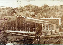 Postkort som visere Høie fabrikker ca 1910-1911Foto: Fotograf ukjent / Vennesla bibliotek /DBVA.no<br>