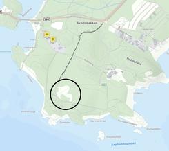 Kart som viser hvor fabrikken en gang lå. Den gamle veien til anlegget er også tegnet inn. Verksbrygga vises til venstre på kartet.Foto: Illustrasjon Birgitte Sørensen<br>