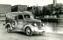 Den første Coca Cola-bilen i Norge, foto 1928Foto: Wilse<br>
