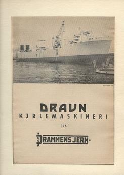 Drammens Jernstøberi ble storleverandør av kjølemaskineri til skip. Hvalkokeriet Kosmos III var en gigant på merittlisten, og typisk nok brukt på salgsbrosjyren.