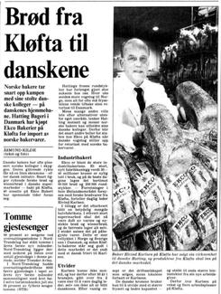 Faksimile av oppslag i Aftenposten i 1988, der Eivind Karlsen forteller om lyse danske fremtidsutsikterFoto: Aftenposten<br>