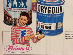 Reklame for Fleischers Drygolin. Kjuagutten var bergensernes svar på den litt mer kunstneriske og gåtefulle Bjercke-maler'n fra OsloFoto: Bergen Byarkiv<br>