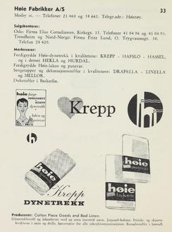 Merkevarer og produkter fra Høie fabrikker på 1960-tallet.Foto: Scan fra Norske Tekstiler 1962<br>