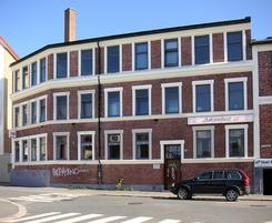 Fabrikkbygningen i Gøteborggata med den karakteristiske