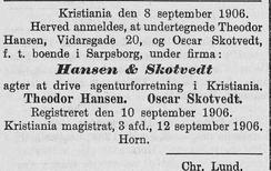 faksimile fra Norsk Kundgjørelsestidende, 17.sept.1906