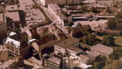 Flyfoto som viser deler av Idun-fabeikken Foto: Østfold Fylkes Billedarkiv<br>
