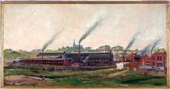 Fabrikken malt av Jens Wang til Jubileumsutstillingen på Frogner i 1914, Foto: NTM
