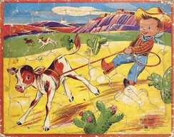 Dette er det puslespillet Pål Larsen fikk av sin tante i Amerika i 1952, som startet hele eventyret.Foto: L.A.Larsen A/S<br>