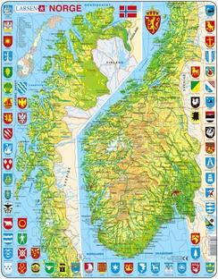Larsens Norgeskart-puslespill er det motivet som er produsert lengst. Det har gjort generasjoner av norske barn kjent med landets geografi.