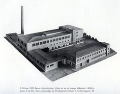 Modell av anlegget på Dælenenga fra 1935 Foto: Scan fra Meierienes jubileusmbok 1971<br>
