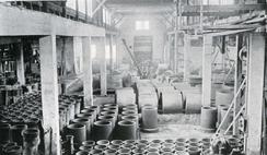 Oslo Monier- & Cementvarefabrik, fabrikkhallen på SkøyenFoto: Scan fra jubileumsbok 1945<br>