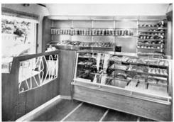 Interi;r av standard utstyr for baker i og konditori fra Ole N. Ruuds M;belfabrikk.
