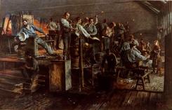 Høvik Verk. Glassblåsere i arbeid. Maleri av Wilh. Peters Foto: Bærumssamlingen, Bærum Bibliotek<br>