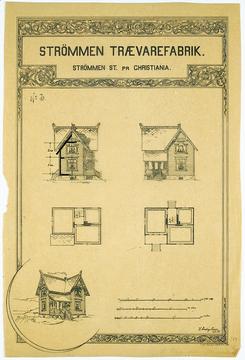 Typehus nr. 3 tegnet av arkitekt Holger Sinding-Larsen fra katalogen fra 1895. Huset var i enkel sveitserstil i 2. etasjer.Foto: Repro Akershusmuseet<br>