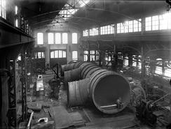 Store dimensjonene over fordelingsrørene i et vannkraftverk. Ukjent kraftverk ca. 1906-1916Foto: NTM T 71<br>