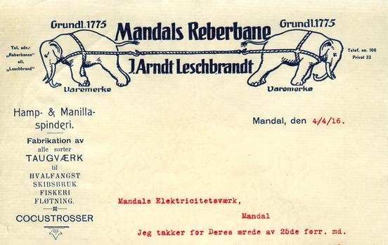Brevhode fra Mandals Reberbane. Fra Mandal museums samling / agderbilder.no (Ingressbilde)